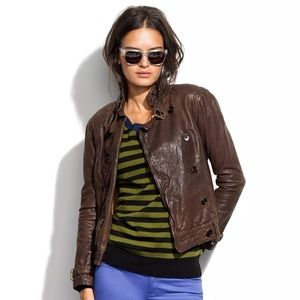 Madewell real leather brown jacket size L